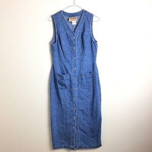 Vintage Denim Button Down Midi Jean Dress